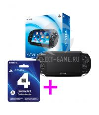 Sony PS Vita Slim 3G/WiFi Black Rus [PCH-1108ZA01] + Карта памяти 4 Гб