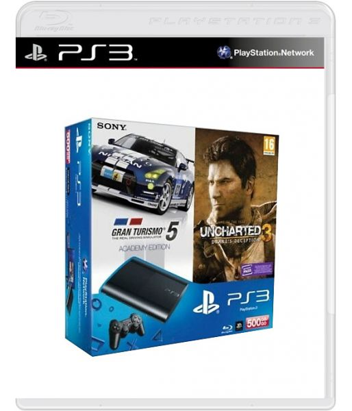 Комплект Sony PS3 Super Slim 500 Gb [CECH-4008C]+GT5 Academy Edition+Uncharted 3