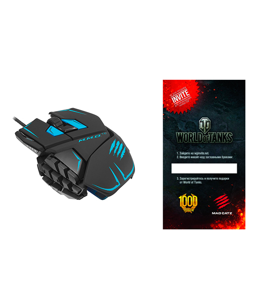 "Мышь Mad Catz M.M.O.TE Gaming Mouse - Matt Black + подарок от ""World of Tanks"" (PC)"