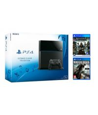 PlayStation 4 1TB матовая черная + Assassin's Creed Синдикат (PS4) + Watchdogs (PS4)